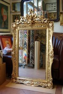 Restaurált tükörkeret képkeretezés www.kepmalom.hu