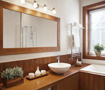 Modern Residential Home Bathroom with large mirror